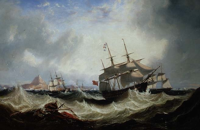 Expédition au large de Gibraltar En lourds Seas de John Wilson Carmichael (1800-1868, United Kingdom)