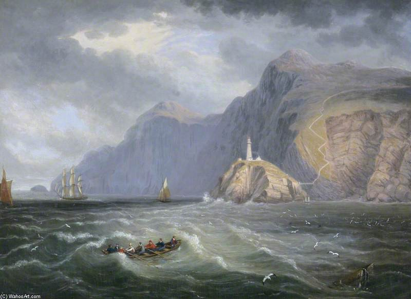 South Stack Rock, Holyhead de John Wilson Carmichael (1800-1868, United Kingdom)