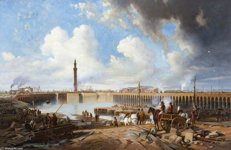 La construction de la station d accueil Royal, Grimsby, Lincolnshire de John Wilson Carmichael (1800-1868, United Kingdom)