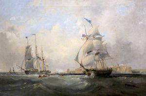 John Wilson Carmichael - Whalers Entering The Tyne