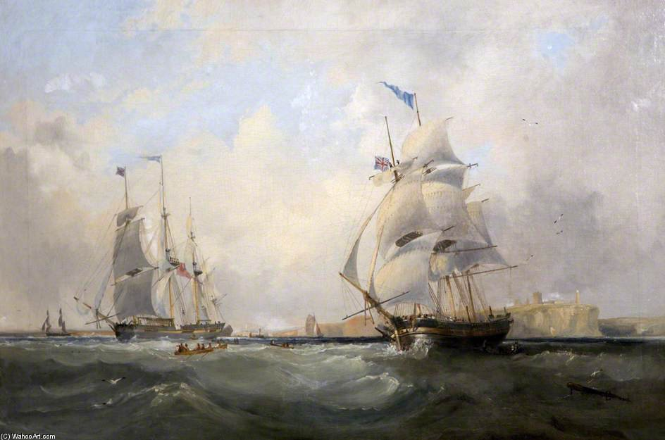 Whalers Entering The Tyne de John Wilson Carmichael (1800-1868, United Kingdom)
