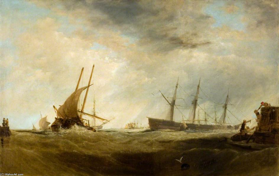 Un Gale Brisk - A passagers d atterrissage Dutch East-Indiaman de Augustus Wall Callcott (1779-1844, United Kingdom)