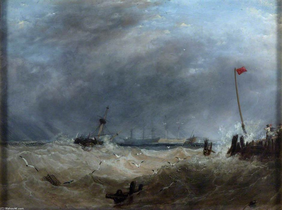 A Sea Port - Gale Rising de Augustus Wall Callcott (1779-1844, United Kingdom) | Reproductions D'art De Musée | ArtsDot.com