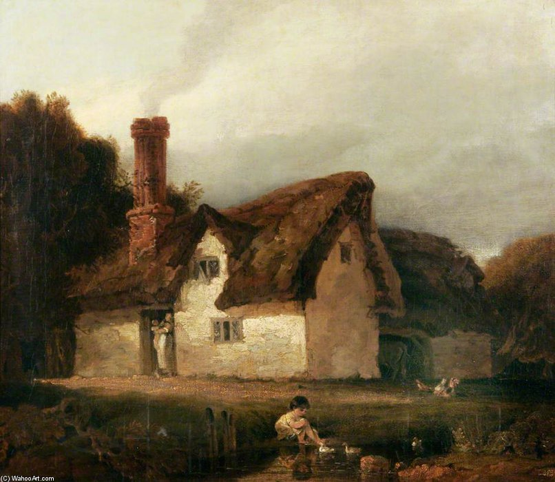 Cottage Scène de Augustus Wall Callcott (1779-1844, United Kingdom)
