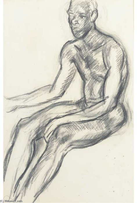 Assis Male Nude de Duncan Grant (1885-1978, Scotland)