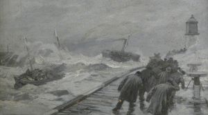 Joseph Nash The Younger - Lifeboat remorqué Out Of port de Yarmouth