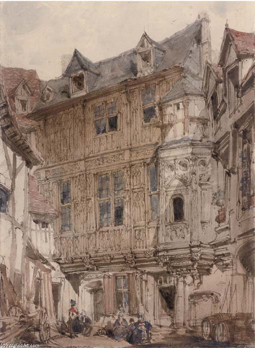 Ruelles de Rouen de Joseph Nash The Younger (1835-1922, United Kingdom)