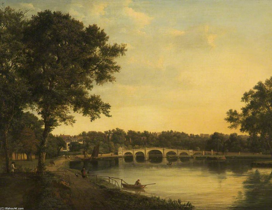 Richmond upon Thames en début de soirée de Patrick Nasmyth (1787-1831, United Kingdom)