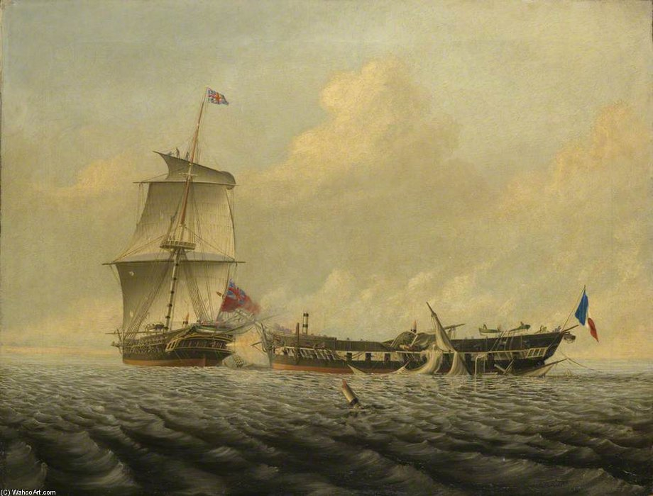 Entre Hms action de la blanche »et le« pique » de Thomas Baines (1820-1875, United Kingdom) | Reproductions D'art Sur Toile | ArtsDot.com