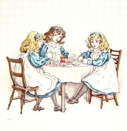 fillettes du Thé adhérents de Kate Greenaway (1846-1901, United Kingdom)