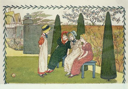 dans le jardin de Kate Greenaway (1846-1901, United Kingdom)