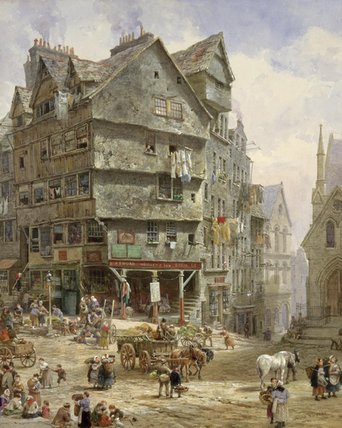 Le High Street De L Occident Bow, Édimbourg de Louise Rayner (1832-1924, United Kingdom)
