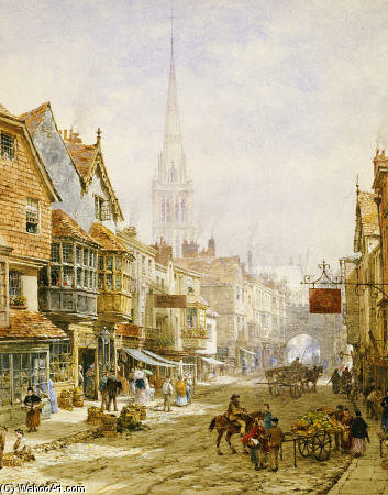 Le High Street, Salisbury de Louise Rayner (1832-1924, United Kingdom)