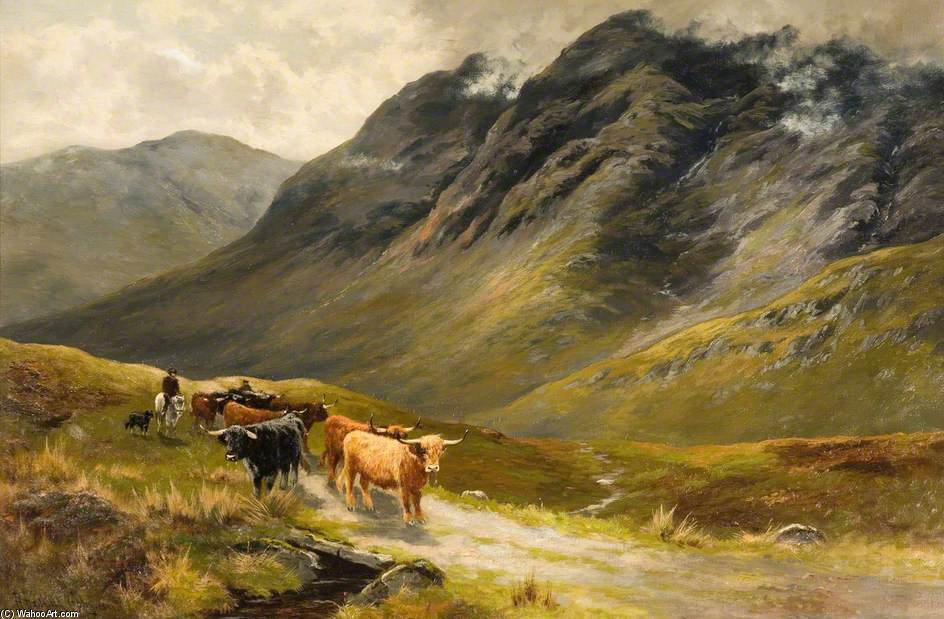 Highland Cattle de Henry Hadfield Cubley (1858-1934, United Kingdom)