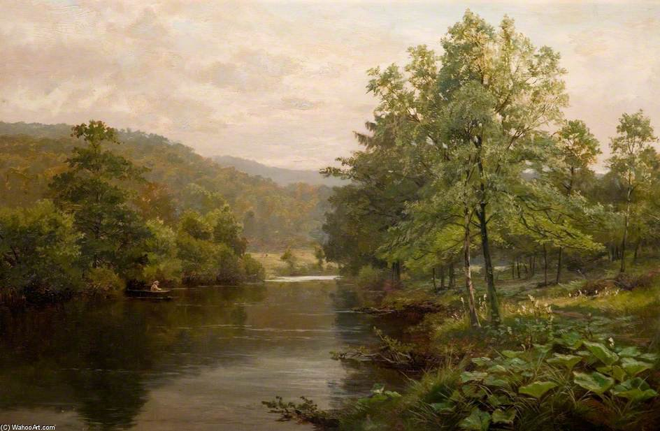 Sur Le Derwent, Derbyshire de Henry Hadfield Cubley (1858-1934, United Kingdom)