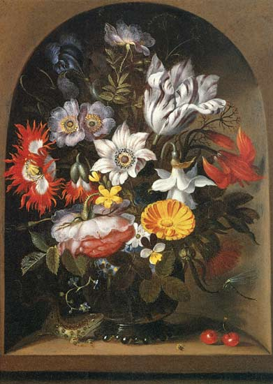 Le bouquet Of fleurs dans un Niche de Jacob Marrel (1614-1681, Germany)