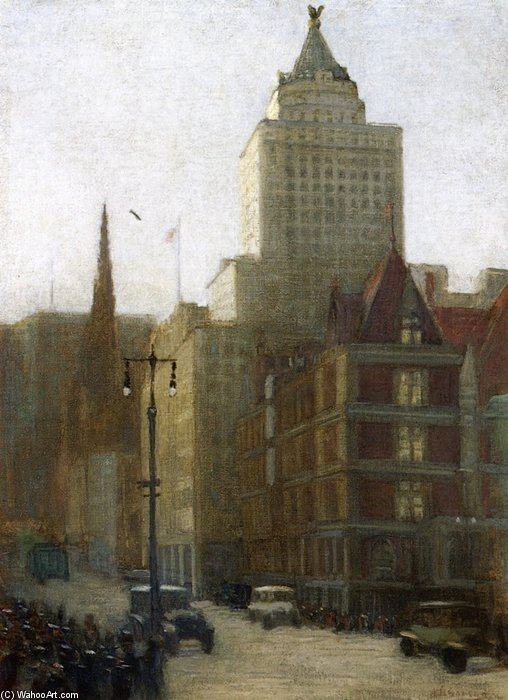 57th Street A Fifth Avenue de Aaron Harry Gorson (1872-1933, Lithuania) | Reproductions D'art Sur Toile | ArtsDot.com