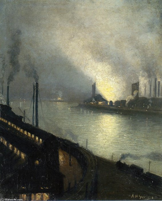 Usines At Night de Aaron Harry Gorson (1872-1933, Lithuania)