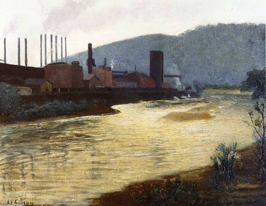 Monongahela River, Pittsburgh, Jones et Laughlin Steel Plant de Aaron Harry Gorson (1872-1933, Lithuania)