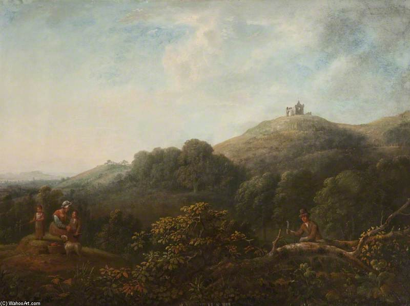 paysage avec r Martha's Chapelle de Anthony Devis (1729-1816, United Kingdom)