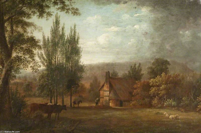 Paysage Cottages et bovins de Anthony Devis  (achat Fine Art copie tableau Anthony Devis)