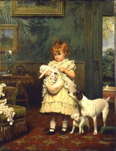 Charles Burton Barber - fille avec chiens