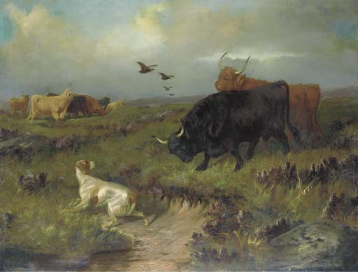 Highland Cattle, avec un Setter Et Grouse sur la lande de Colin Graeme Roe (1858-1910, United Kingdom)