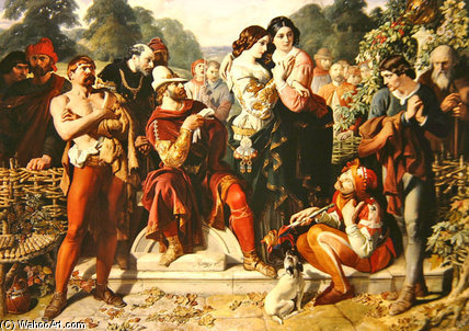 Une scène de «As You Like It de Daniel Maclise (1806-1870, Ireland) | Reproductions D'art Sur Toile | ArtsDot.com