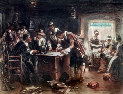 La signature du contrat de Mayflower de Edward Percy Moran (1829-1901, United Kingdom) | Reproduction Peinture | ArtsDot.com