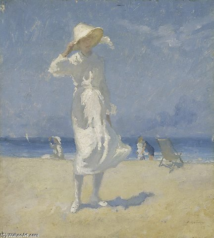 le blanc fille de Elioth Gruner (1882-1939, New Zealand)