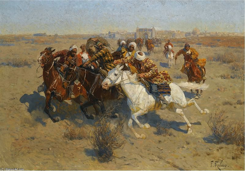 A Game Of Buzkashi de Francois Flameng (1856-1923, France)
