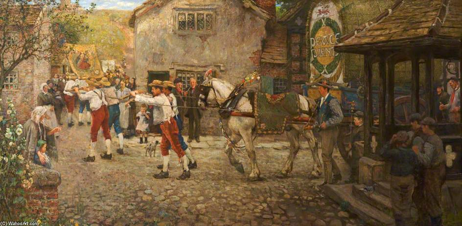 Rushbearing A Middleton, Rochdale, Lancashire de Frederick William Jackson (1859-1918, United Kingdom)