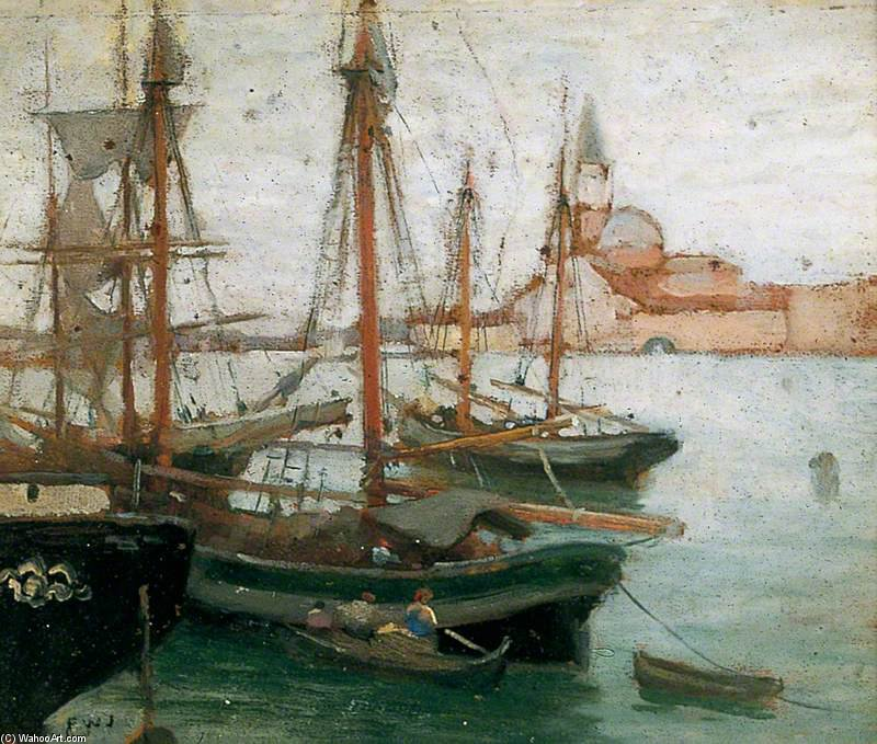 navires dans  venise  de Frederick William Jackson (1859-1918, United Kingdom)