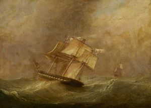 John Christian Schetky - Hms de la pique In A Gale..