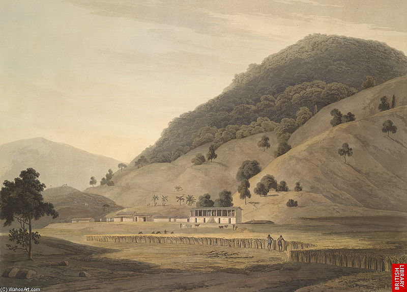 Village Jogiana, Près Duggada, Kotdwar, Uttarakhand de Thomas And William Daniell  (commander Fine Art Poster sur toile Thomas And William Daniell)