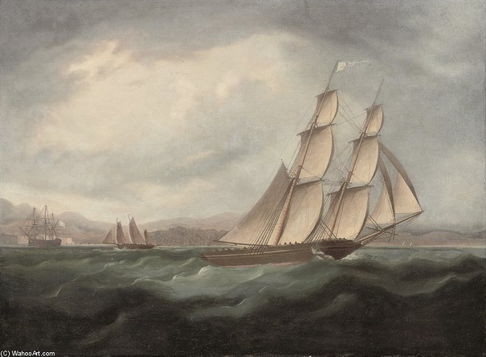 A Brigue fonctionnant à pleine voile en Méditerranée de Thomas Buttersworth (1768-1842, United Kingdom)