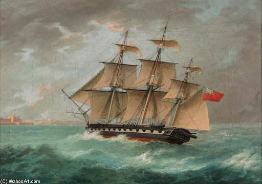 une britannique frégate approche du port de Thomas Buttersworth (1768-1842, United Kingdom)