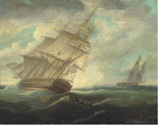Une frégate britannique Heeling dans la brise de Thomas Buttersworth (1768-1842, United Kingdom)