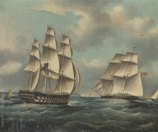 A Two-decker Colombie au milieu d autres navigation dans la Manche de Thomas Buttersworth (1768-1842, United Kingdom) | Reproductions D'art Sur Toile | ArtsDot.com