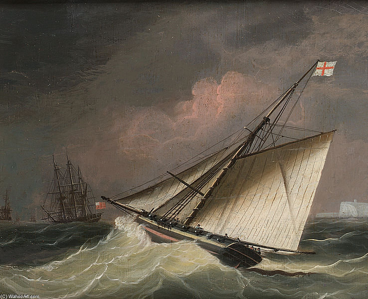 Un Cutter Dans une houle de Thomas Buttersworth (1768-1842, United Kingdom)