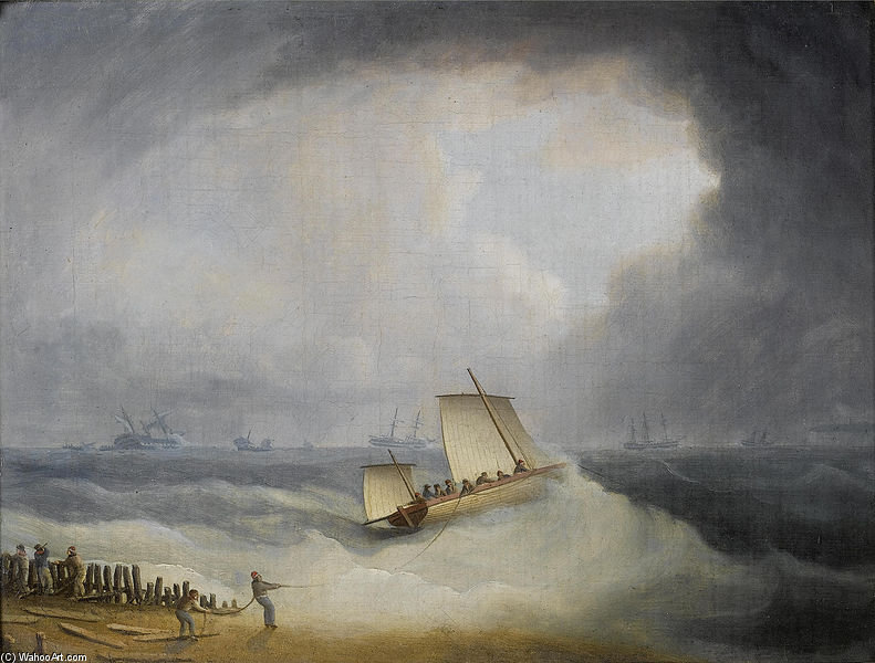 Un accord Lugger Going Off à l assaut des navires à destination dans les Dunes de Thomas Buttersworth (1768-1842, United Kingdom)