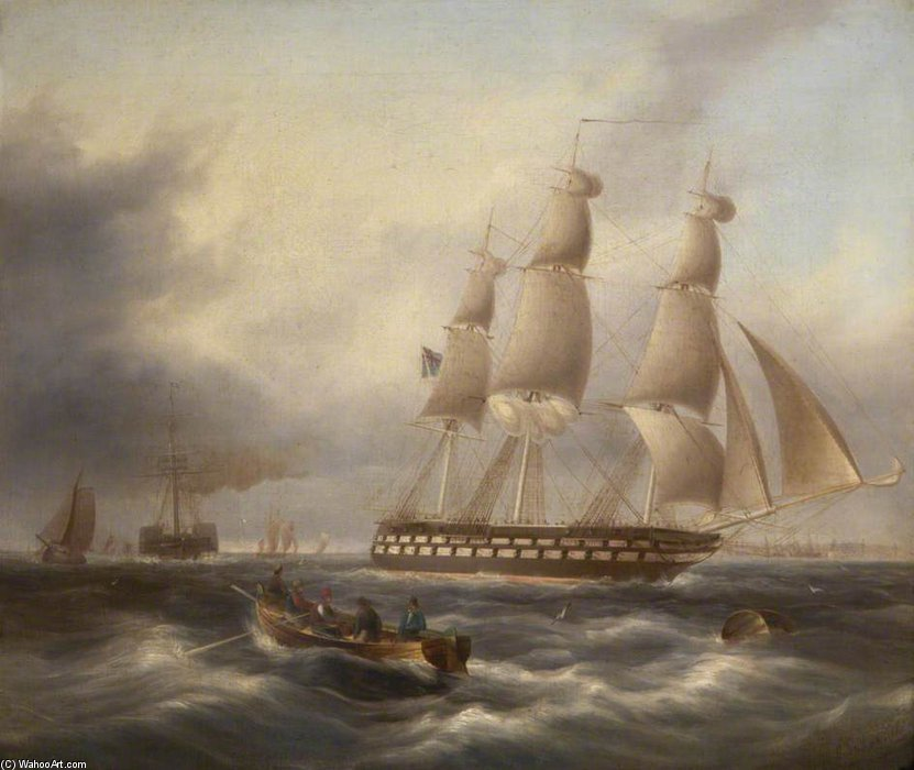 Une frégate Saisie Le Tage de Thomas Buttersworth (1768-1842, United Kingdom) | Reproduction Peinture | ArtsDot.com