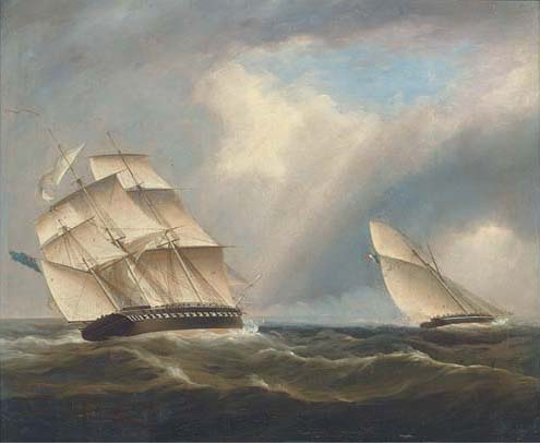 Une frégate de la Royal Navy poursuite d une Sloop navale française de Thomas Buttersworth (1768-1842, United Kingdom)