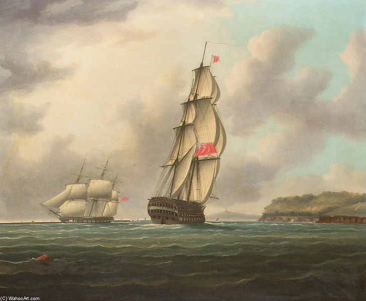 Un navire-of-the-line Grand dirigeons vers Plymouth Sound Comme une frégate Outward Bound passe The Breakwater de Thomas Buttersworth (1768-1842, United Kingdom)