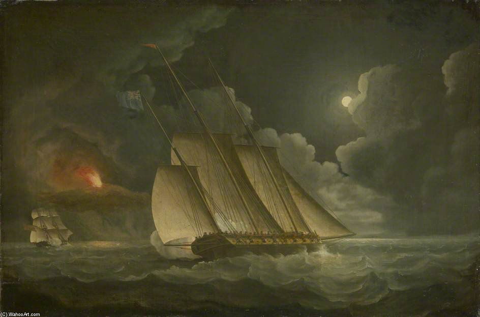 Un Lugger poursuivi par un Revenu Ou Naval Brig de Thomas Buttersworth (1768-1842, United Kingdom)