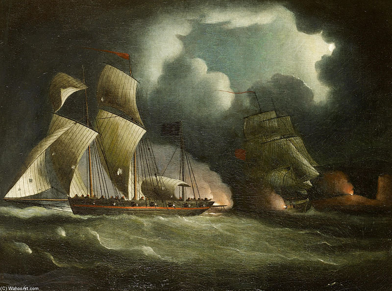 A Royal Navy Brig Chasing et engageant une bien armés Pirate Lugger de Thomas Buttersworth (1768-1842, United Kingdom)