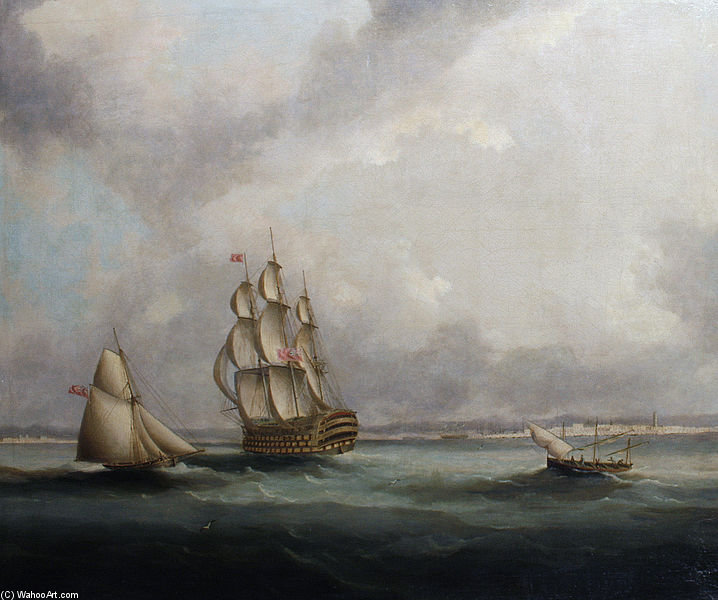 Un vaisseau de ligne Off Cadix de Thomas Buttersworth (1768-1842, United Kingdom)