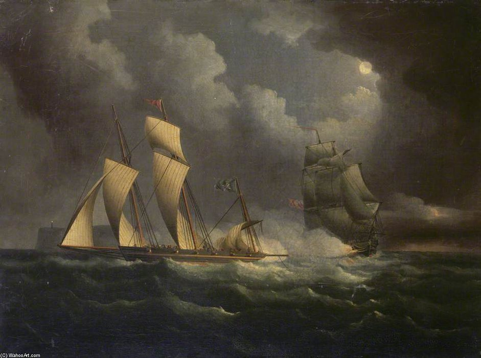Un Lugger de contrebande poursuivi par un Brig Naval de Thomas Buttersworth (1768-1842, United Kingdom)