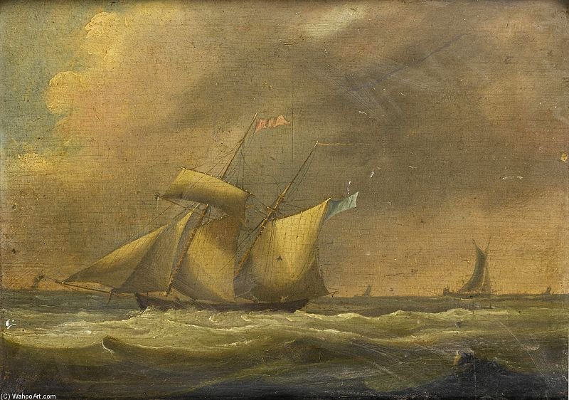 Un Topsail Schooner Dans une forte houle de Thomas Buttersworth (1768-1842, United Kingdom)