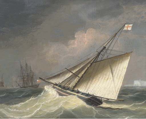 Un Cutter armés de partir à l escadron Offshore de Thomas Buttersworth (1768-1842, United Kingdom)